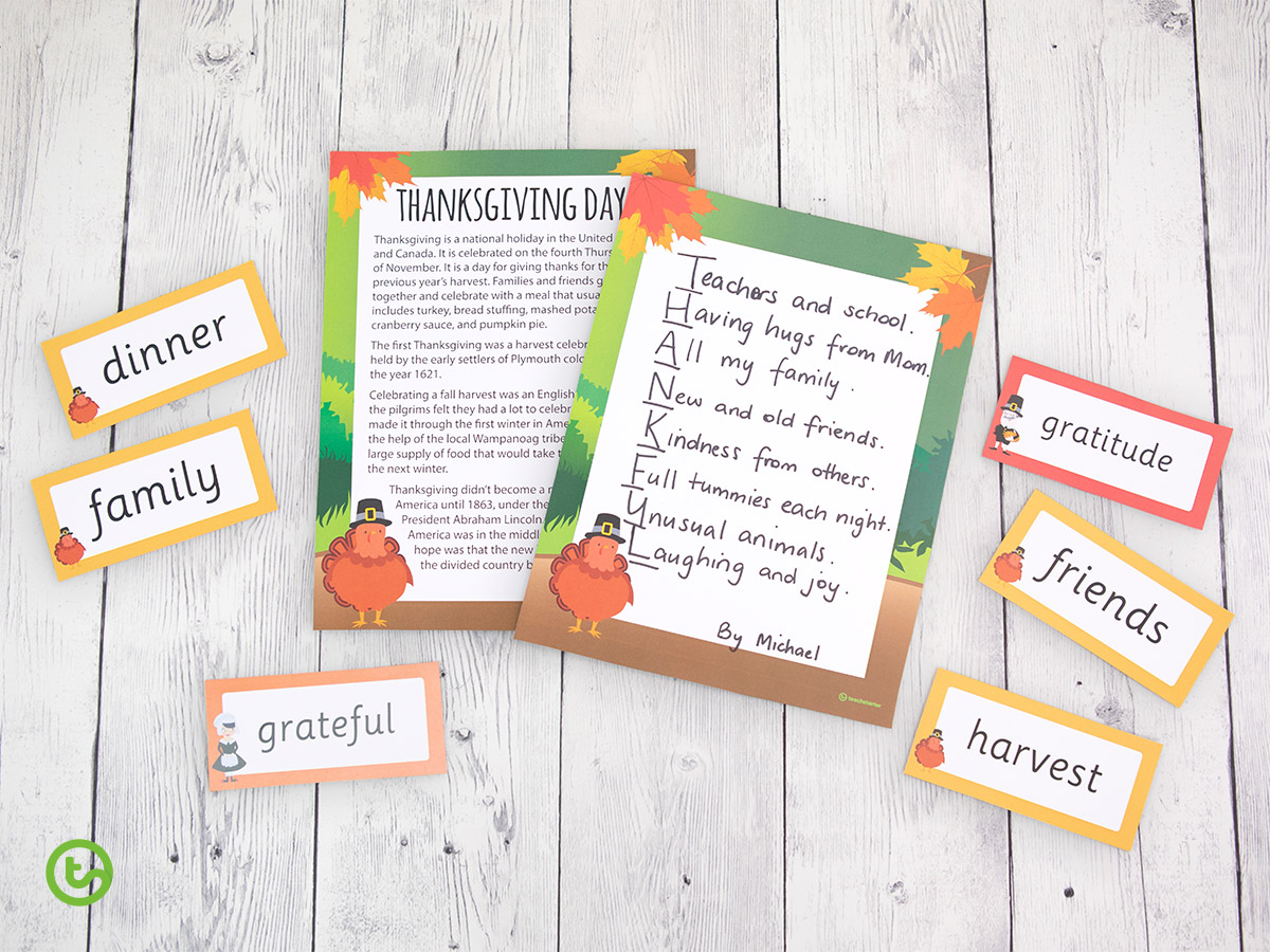 Thanksgiving Activities for the Classroom - Thanksgiving Writing Activities