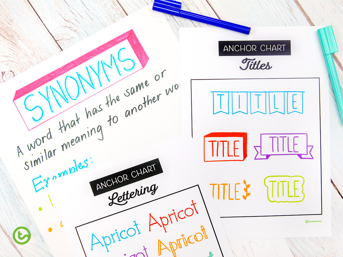 Anchor Chart - Use these title and lettering ideas on your anchor charts