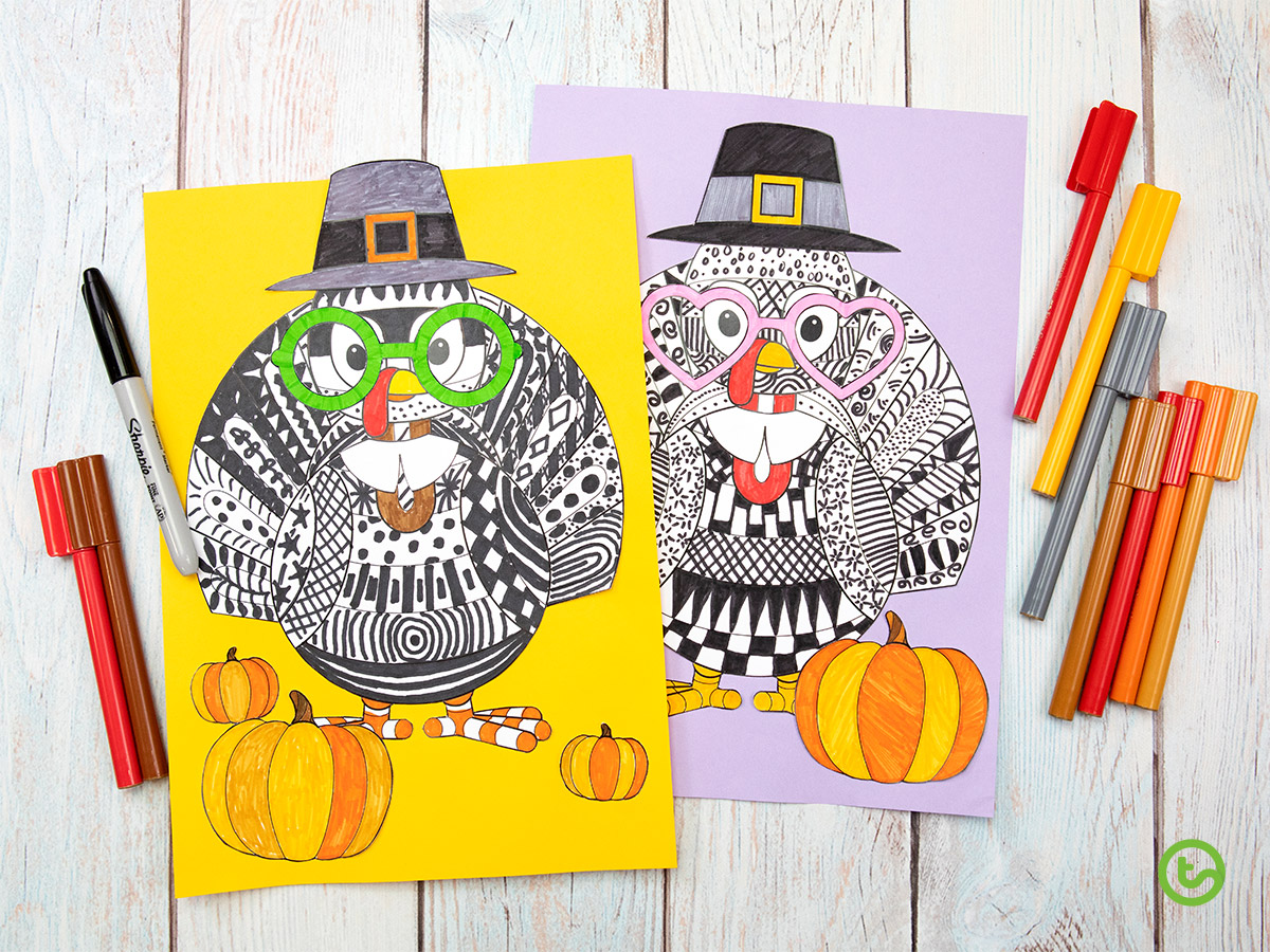 the Funky Turkey Printable - downloadable craft template