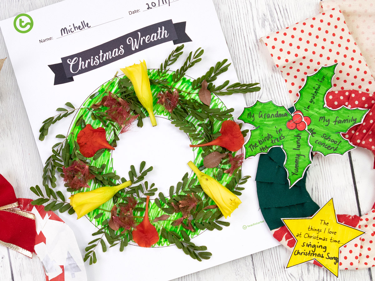 Christmas Wreath Craft - Use this template multiple ways