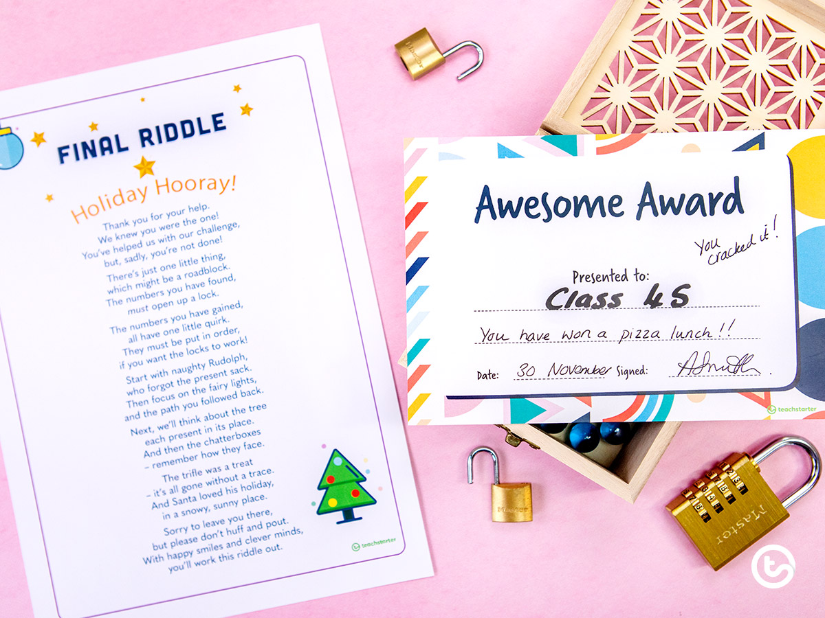 solve the final riddle and crack the code to find a class award!