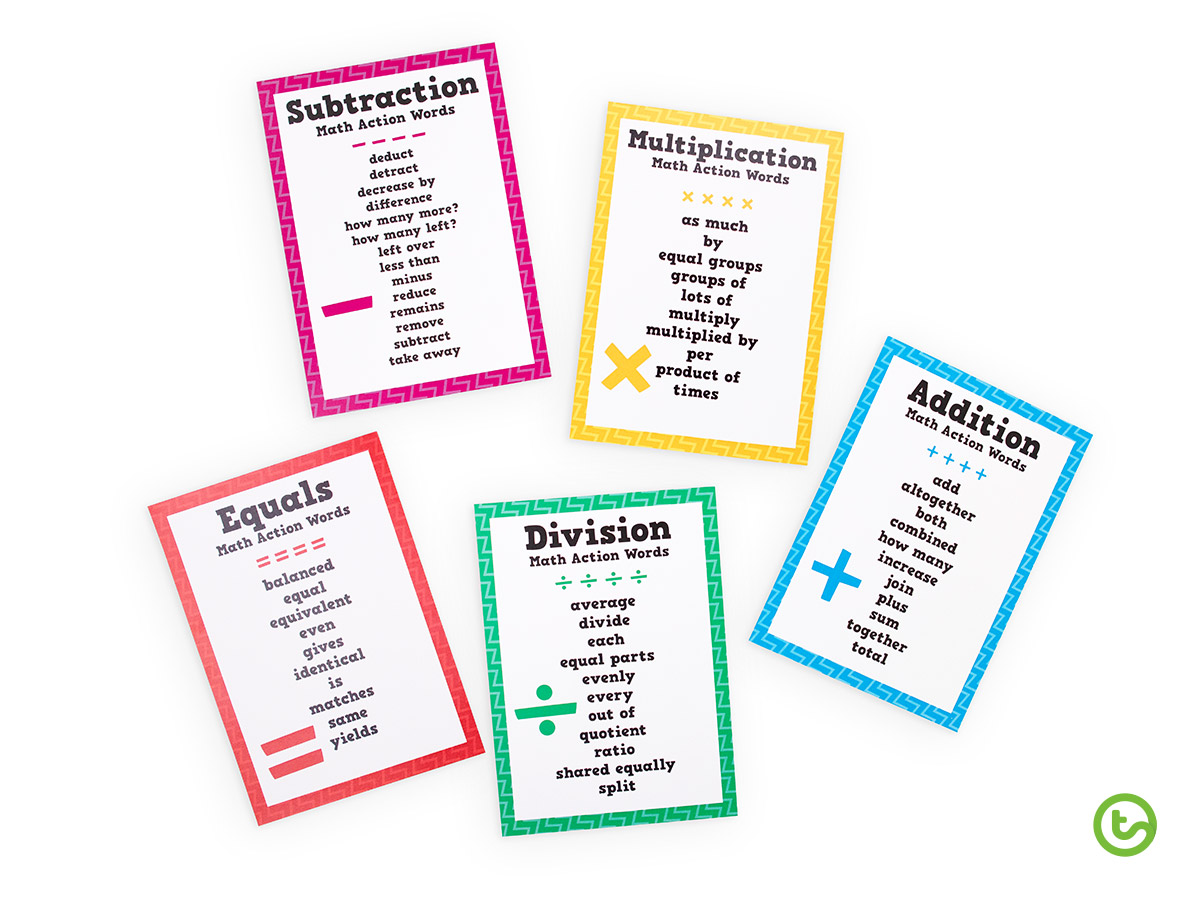 Math Action Words - Most Downloaded Teaching Resources of 2019