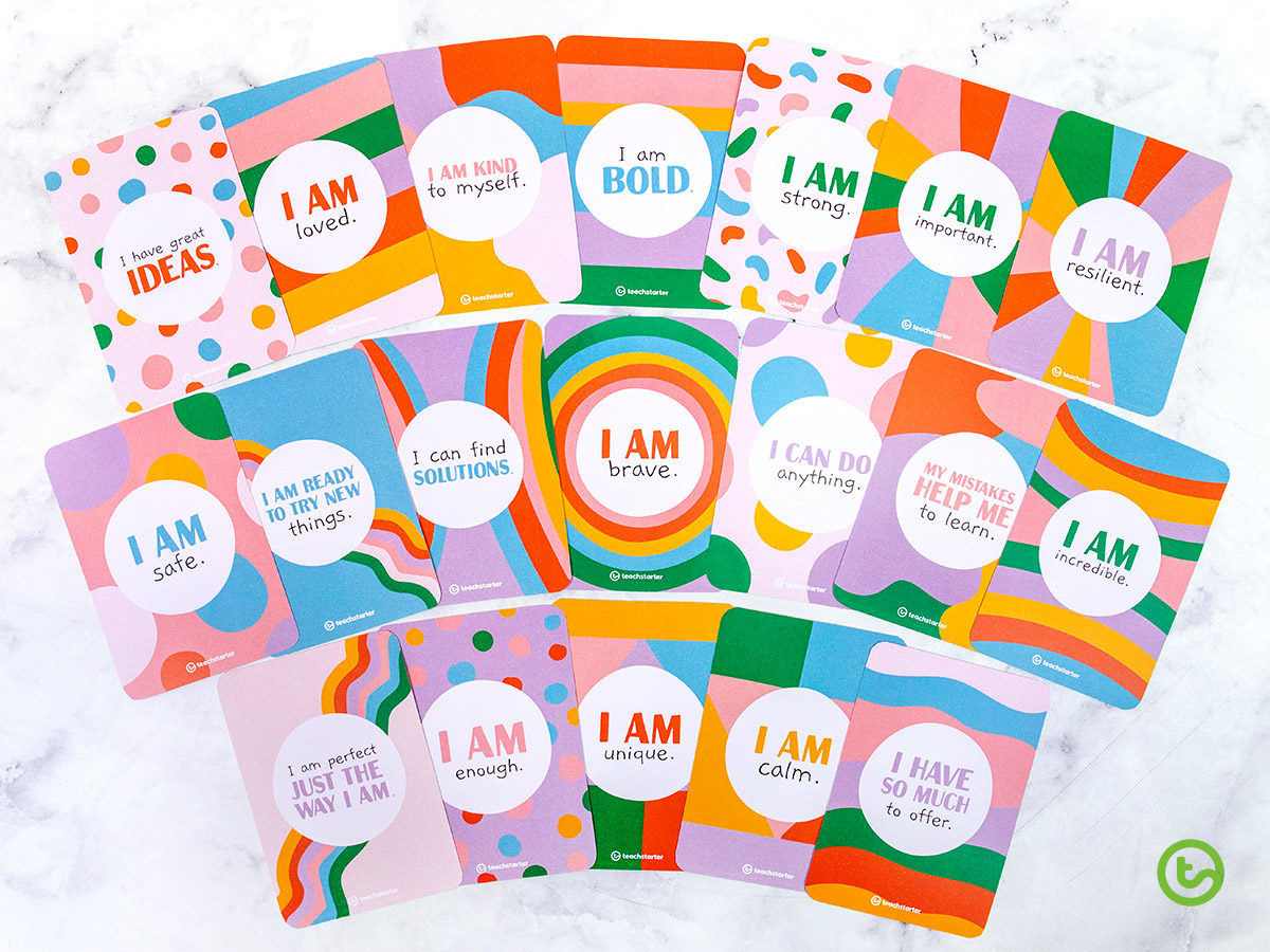 20 positive affirmation cards for growth mindset.