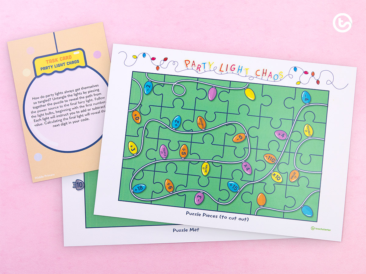 task cards and mysterious puzzles to solve.