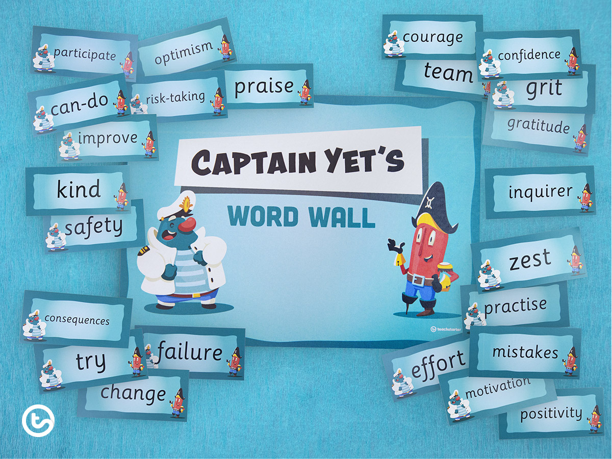 The Power of Captain Yet - Growth Mindset for Kids - Word Wall Resource