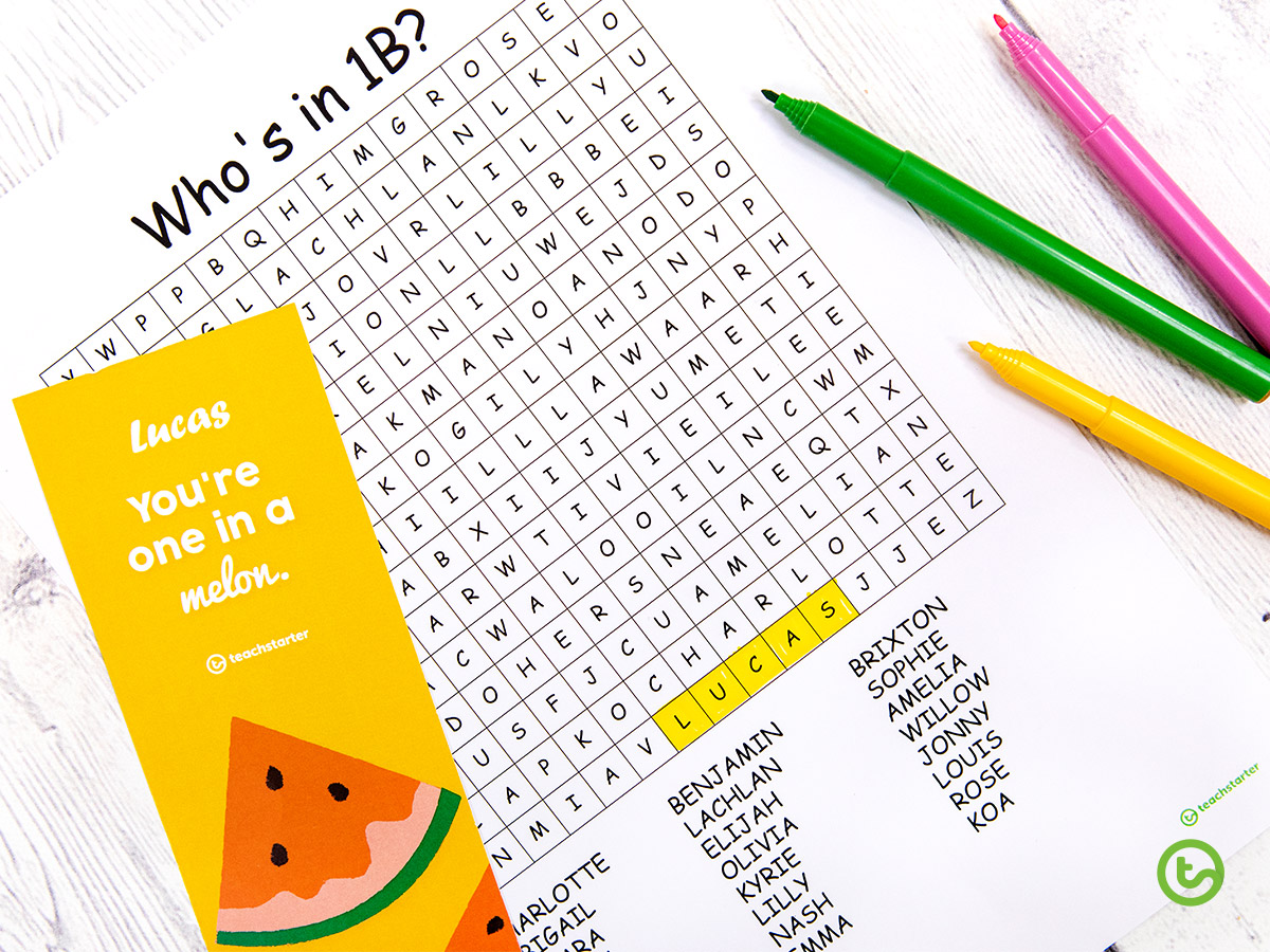 First day of school word search and back to school gift for students