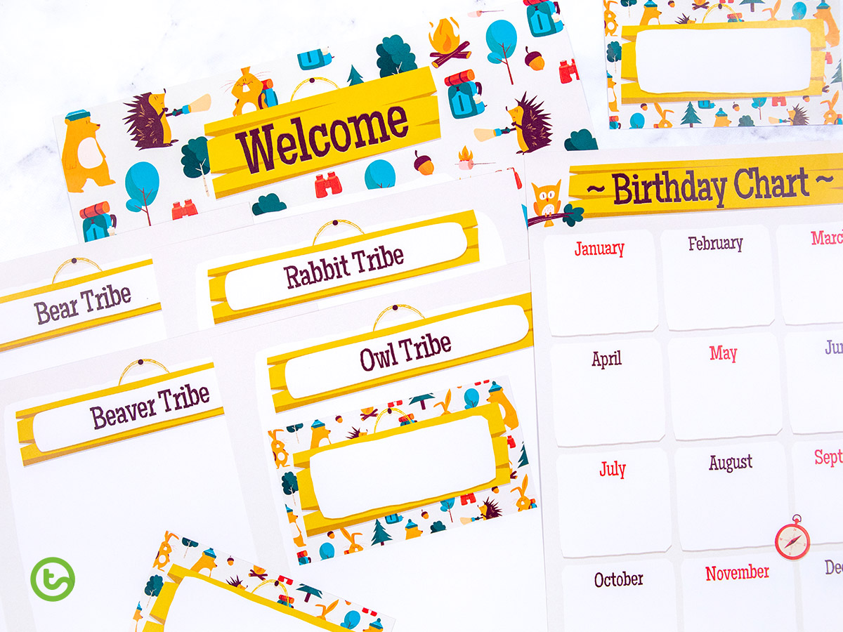Camping theme classroom decor and templates