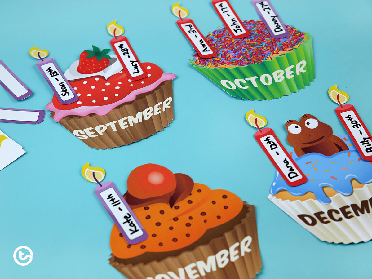 Printable cupcake birthday display for the classroom