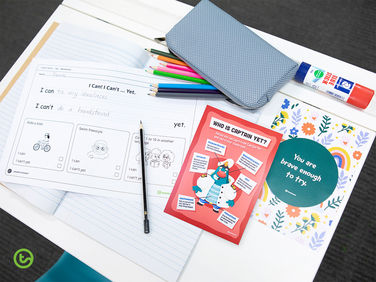 The Power of Captain Yet - Growth Mindset for Kids - Handwriting Worksheet