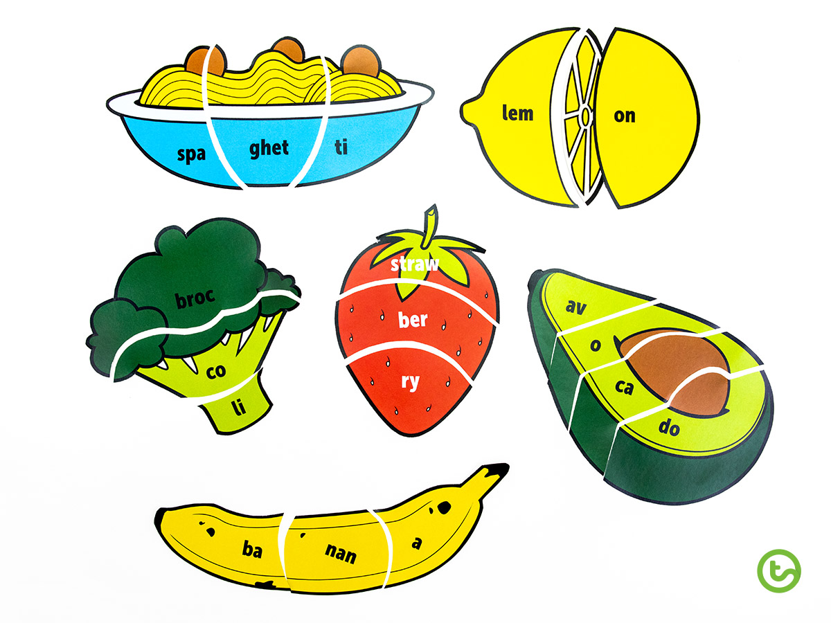 a Food-Themed Syllable Puzzle for kids