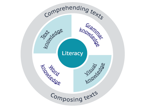 a diagram to show the elements for Literacy.