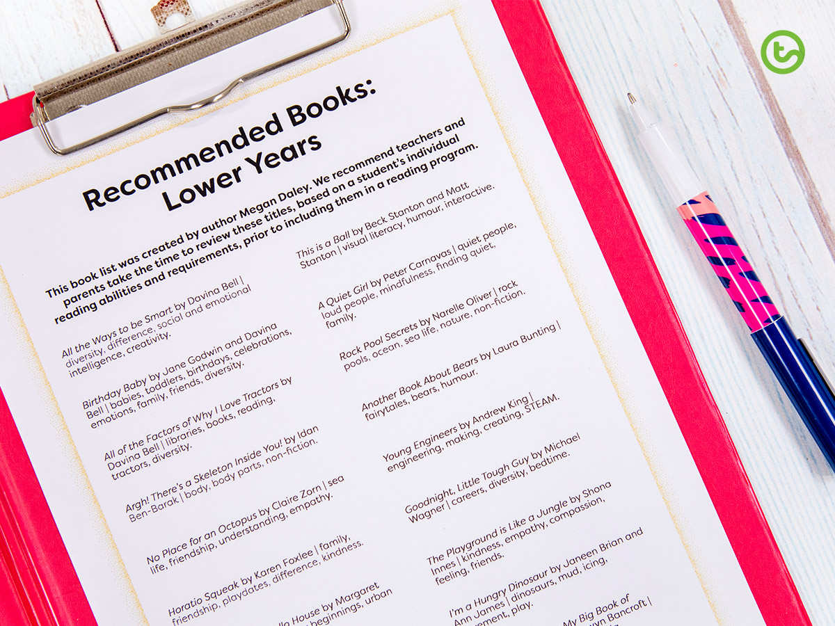 a list of recommended picture books for lower years.