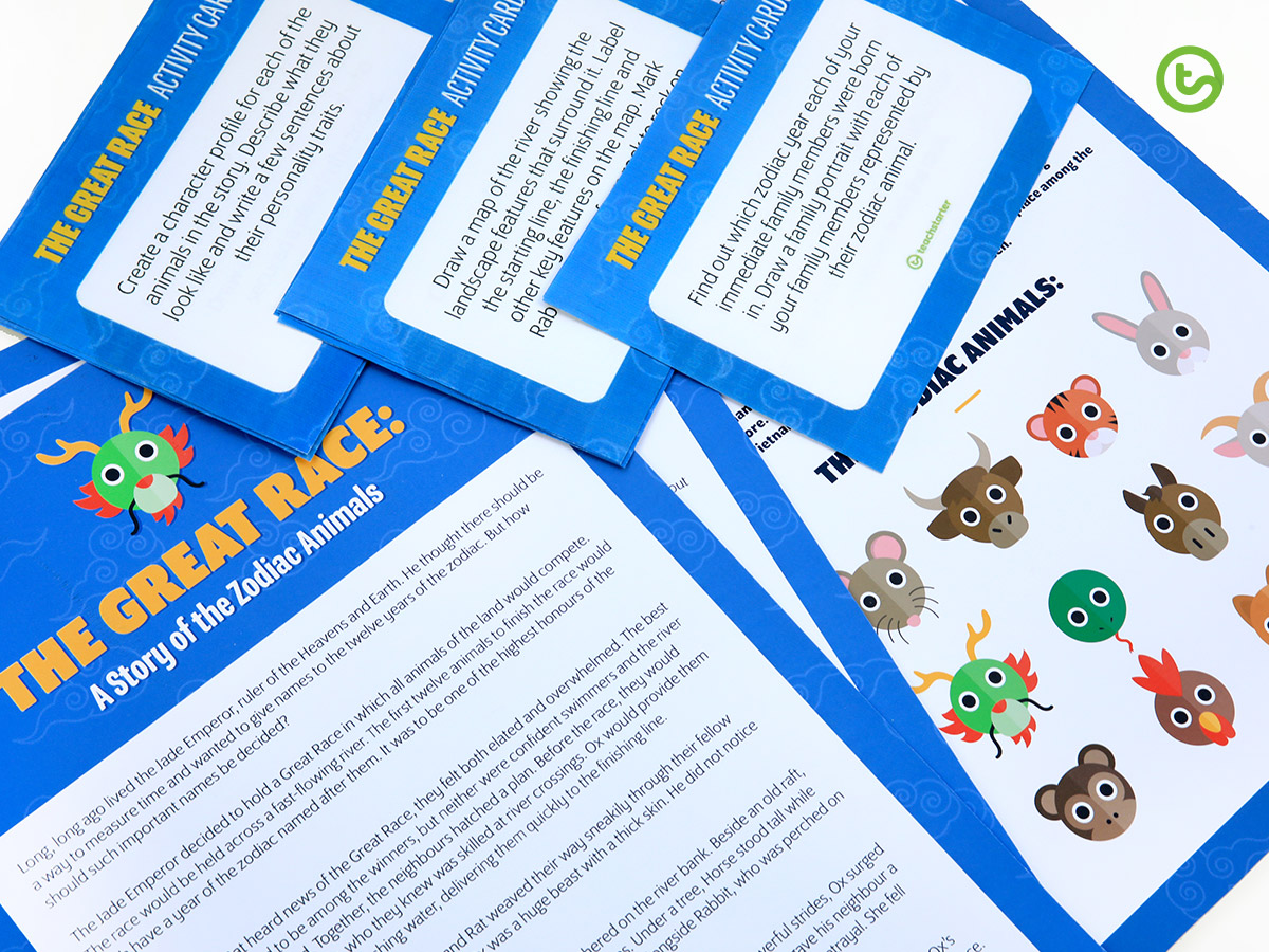 Zodiac Animals Story and Task Cards for kids