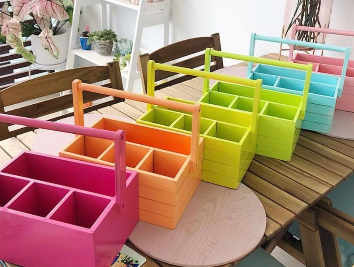 Classroom desk storage solution