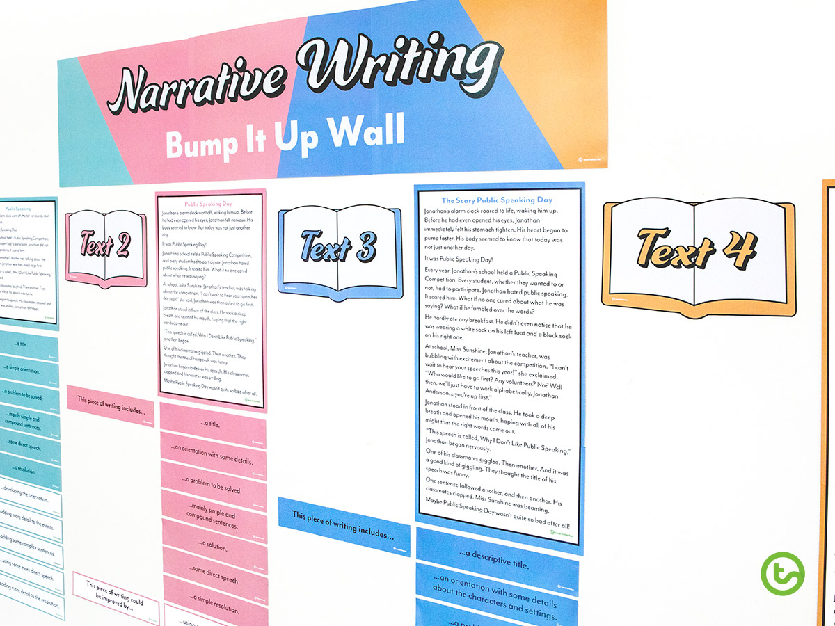 A narrative Bump It Up Wall (includes Narrative writing examples).