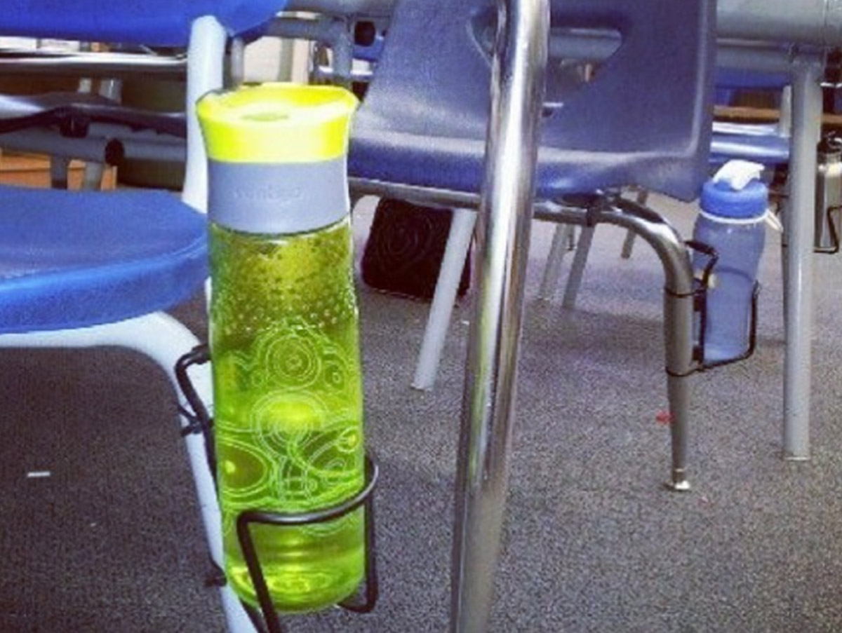 Drink bottle storage in the classroom hack