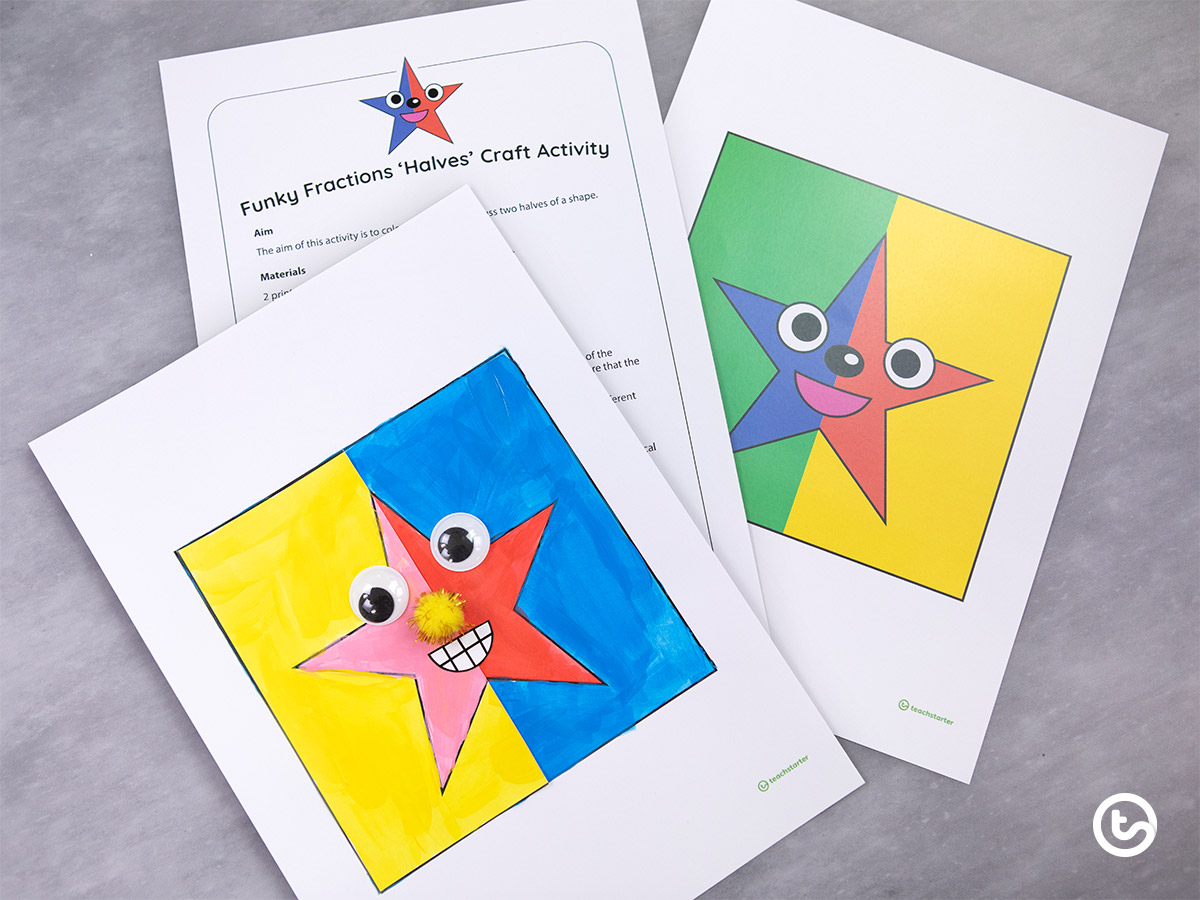 Fraction Activities for Early Years - Fraction Halves Craft Activities
