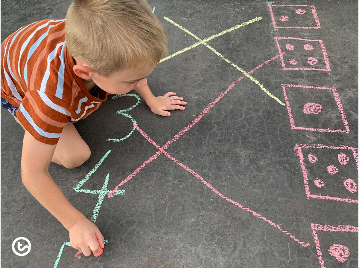 Match-up activity using sidewalk chalk.
