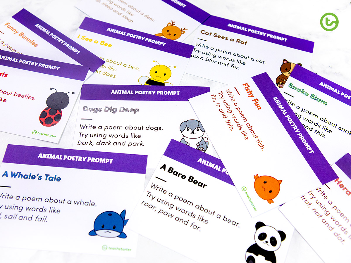 Printable Poetry Prompt Task Cards for the early years classroom.