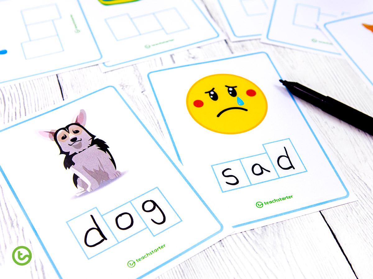 CVC Word Shape task cards