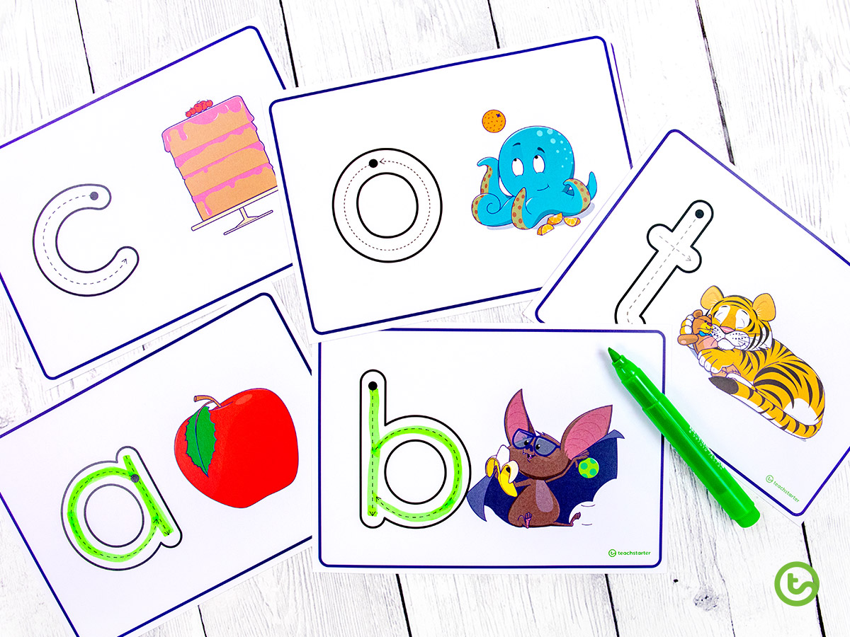 Lowercase letter formation task cards