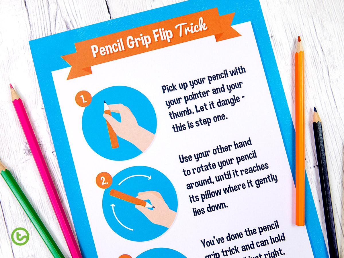 Pencil Grip Flip Trick Classroom Poster