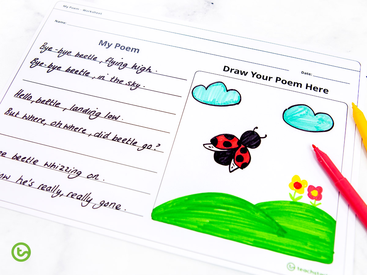 A printable poetry worksheet ideal for early years.