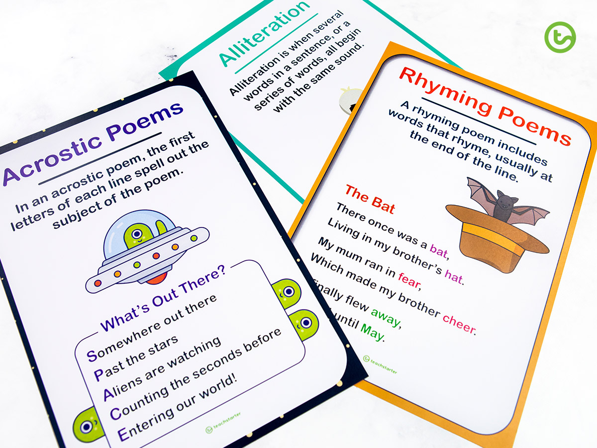 Useful early years poetry posters to display in your classroom.