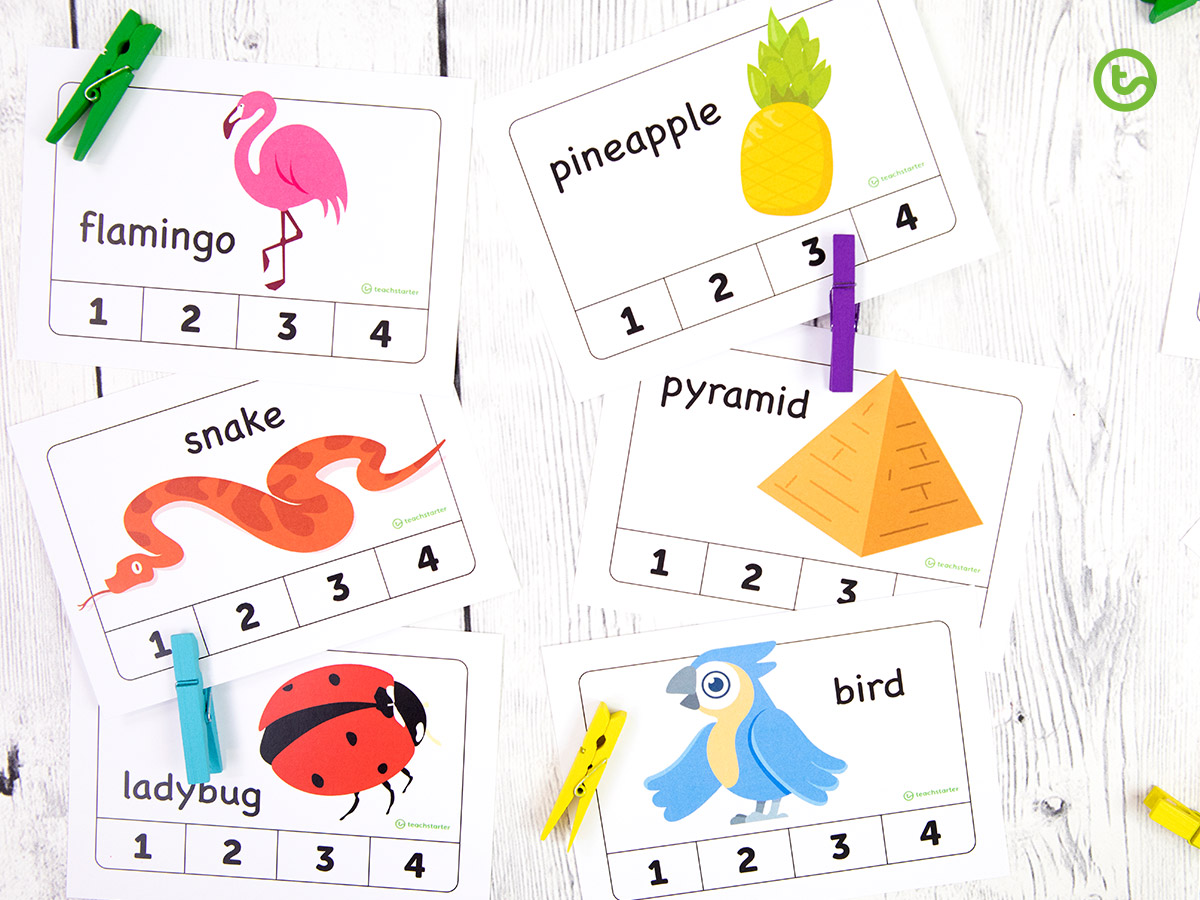 Syllable Clip Cards Activity